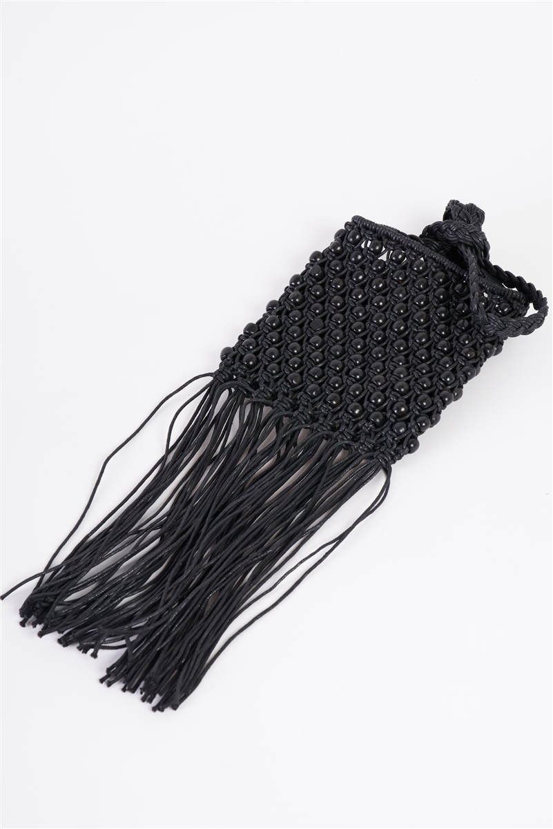 Black Net Cable Fringe Wooden Beads Braided Crossbody Bag /3 Bags