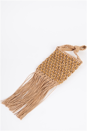 Taupe Net Cable Fringe Wooden Beads Braid Shoulder Handle Bag /3 Bags
