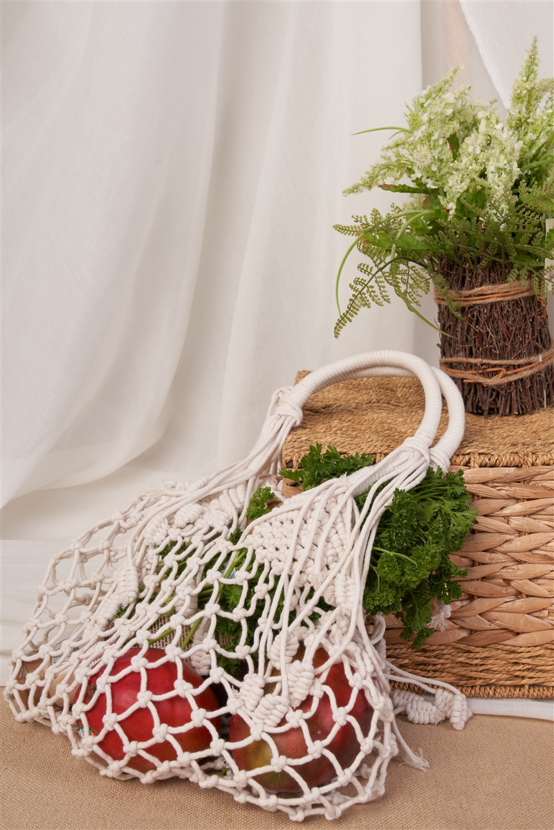 Ivory Fashion Cotton Fringe Net Bag /1 Bag