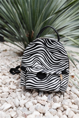 Safari Zebra Print Vegan Leather Fashion Backpack /3 Pieces