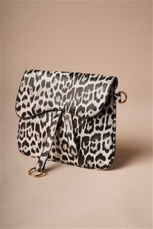 Snow Leopard Print Retro Crossbody Bag