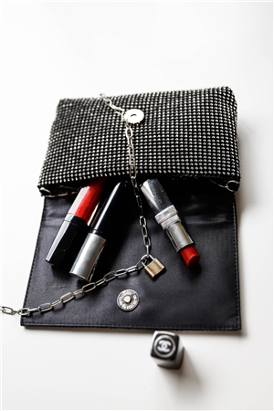 Black Rectangle Rhinestone Chain Crossbody Strap Clutch Bag /3 Bags