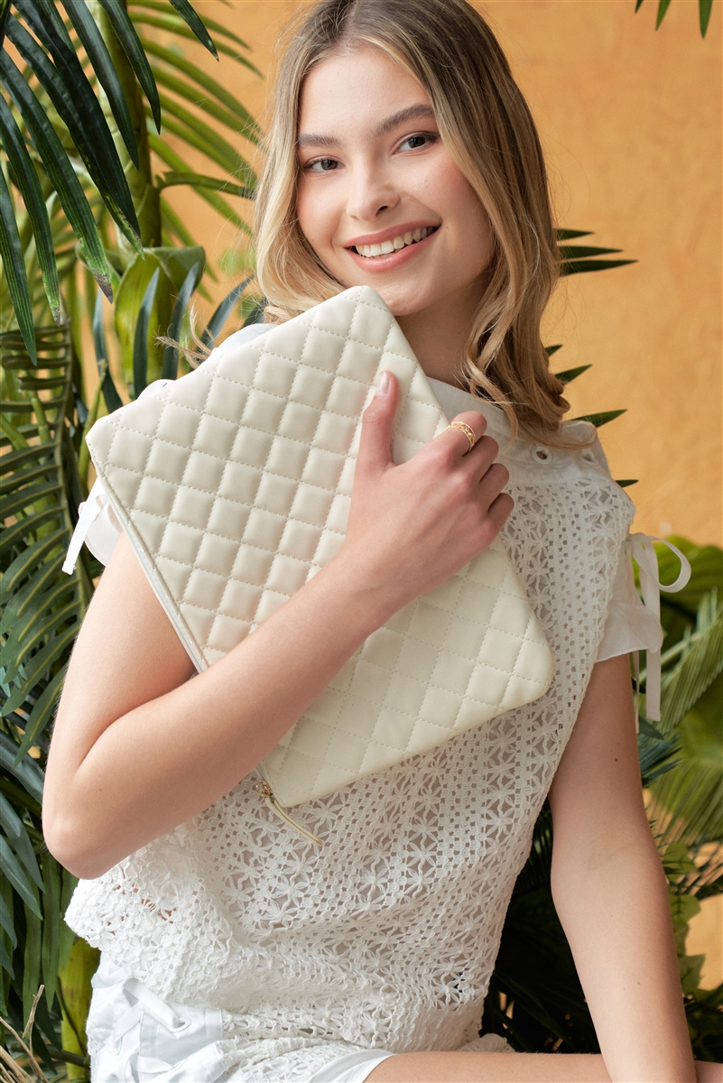 Ivory Quilted Rectangle Pouch Bag