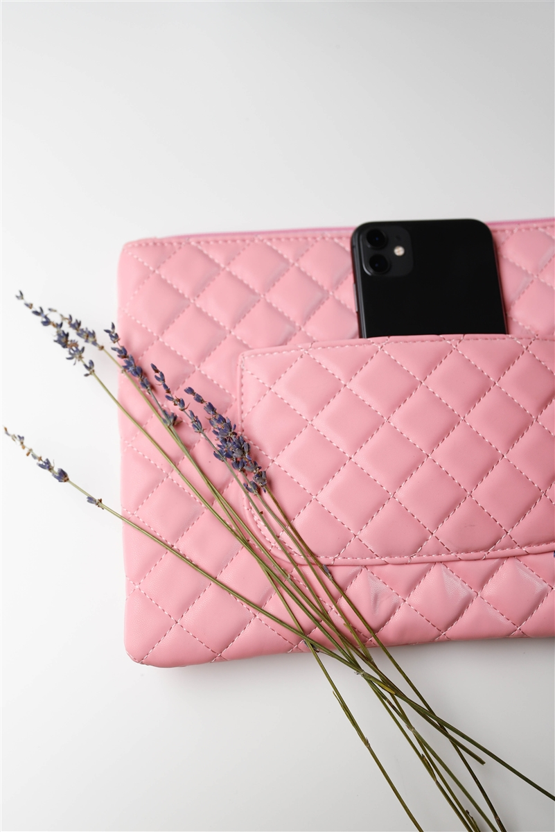 Pink Quilted Rectangle Pouch Bag