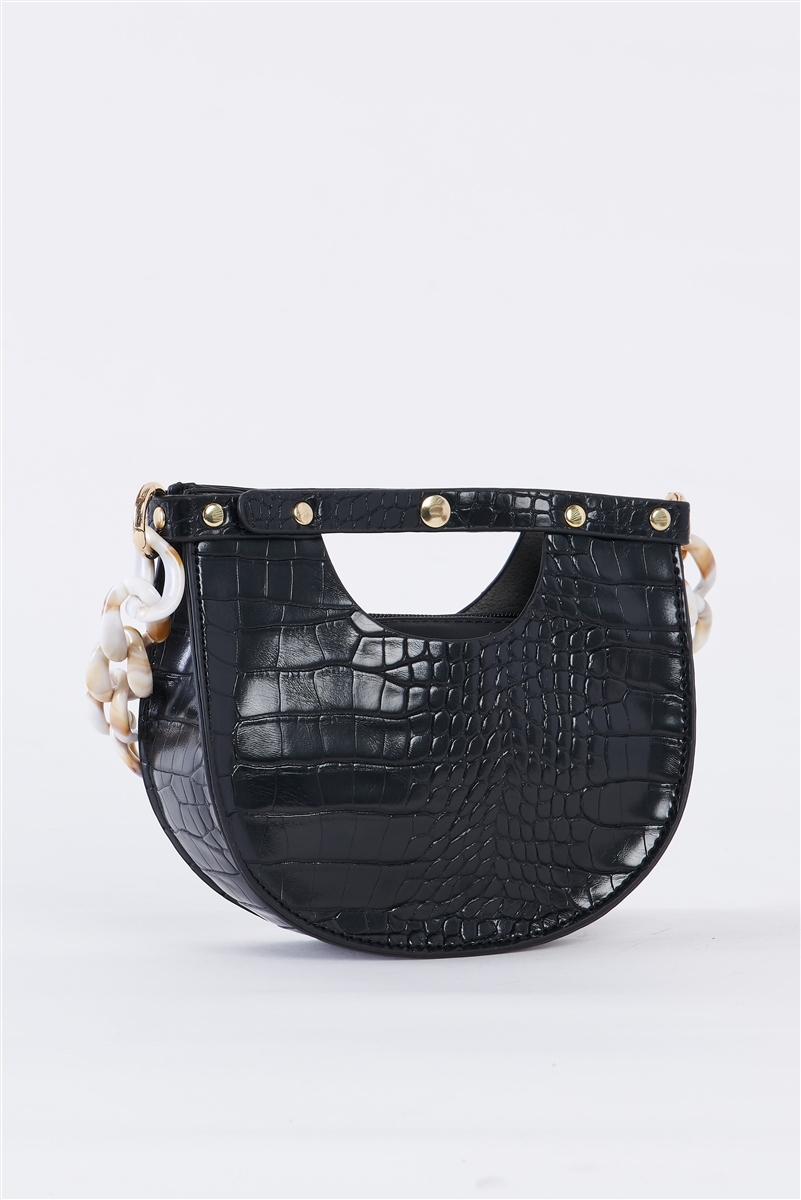 Black Faux Alligator Skin Fashion Handbag /1 Bag