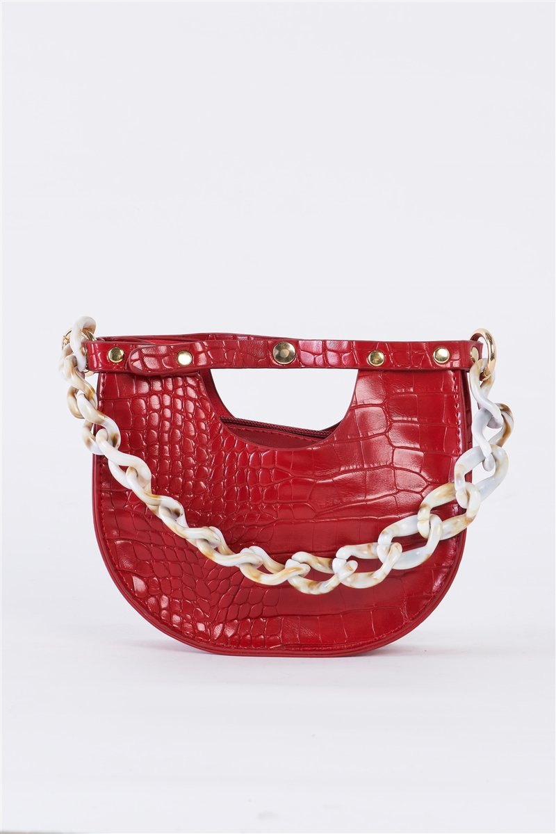 Red Faux Alligator Skin Fashion Handbag /1 Bag