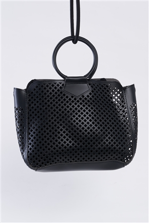 Black Cloth Double Layered Faux Leather Mesh Hidden Magnetic Snap Button Closure Crossbody Handbag / 1 Bag