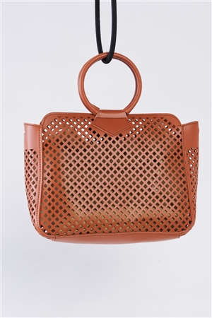 Brown Cloth Double Layered Faux Leather Mesh Hidden Magnetic Snap Button Closure Crossbody Handbag