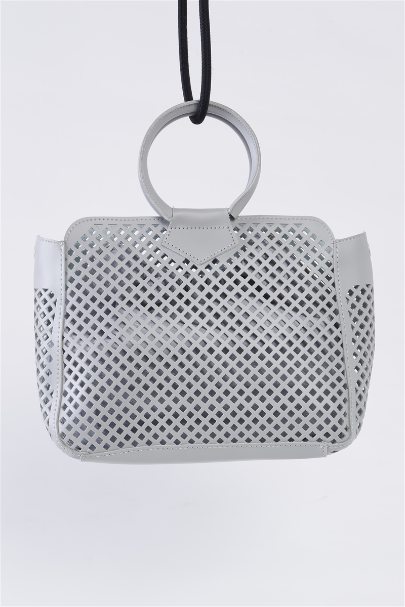 Grey Cloth Double Layered Faux Leather Mesh Hidden Magnetic Snap Button Closure Crossbody Handbag / 1 Bag
