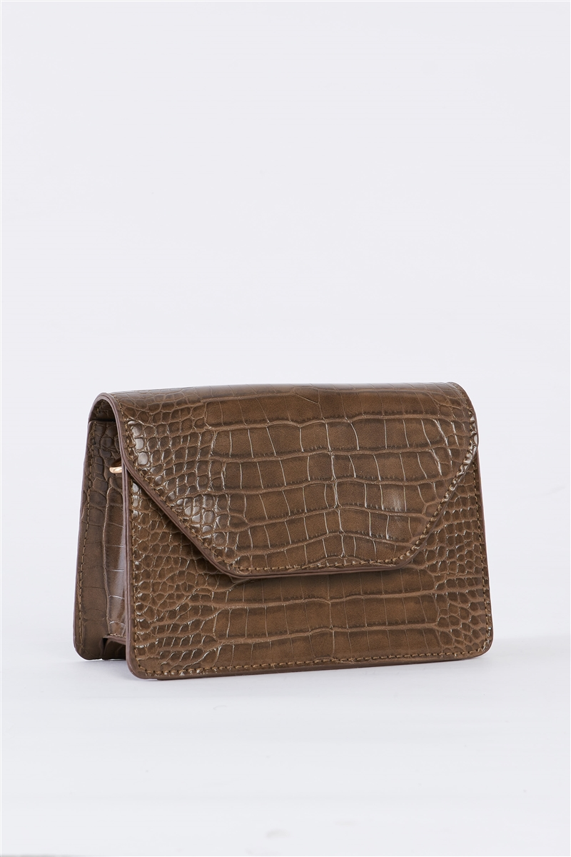 Deep Taupe Croc Hardware Belt Strap Detail Shoulder Bag /3 Bags