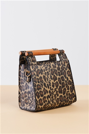 Leopard Print Vegan Leather Mini Handbag With Bamboo Trim