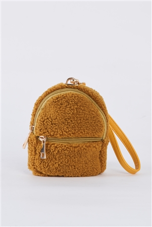 Mustard Yellow Faux Shearling Wristlet Mini Bag /3 Bags