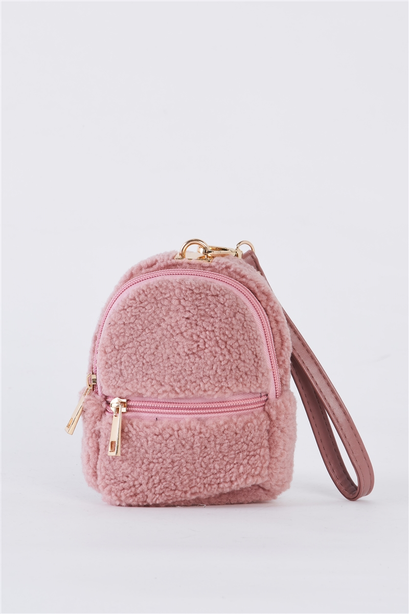 Baby Pink Faux Shearling Wristlet Mini Bag /3 Bags