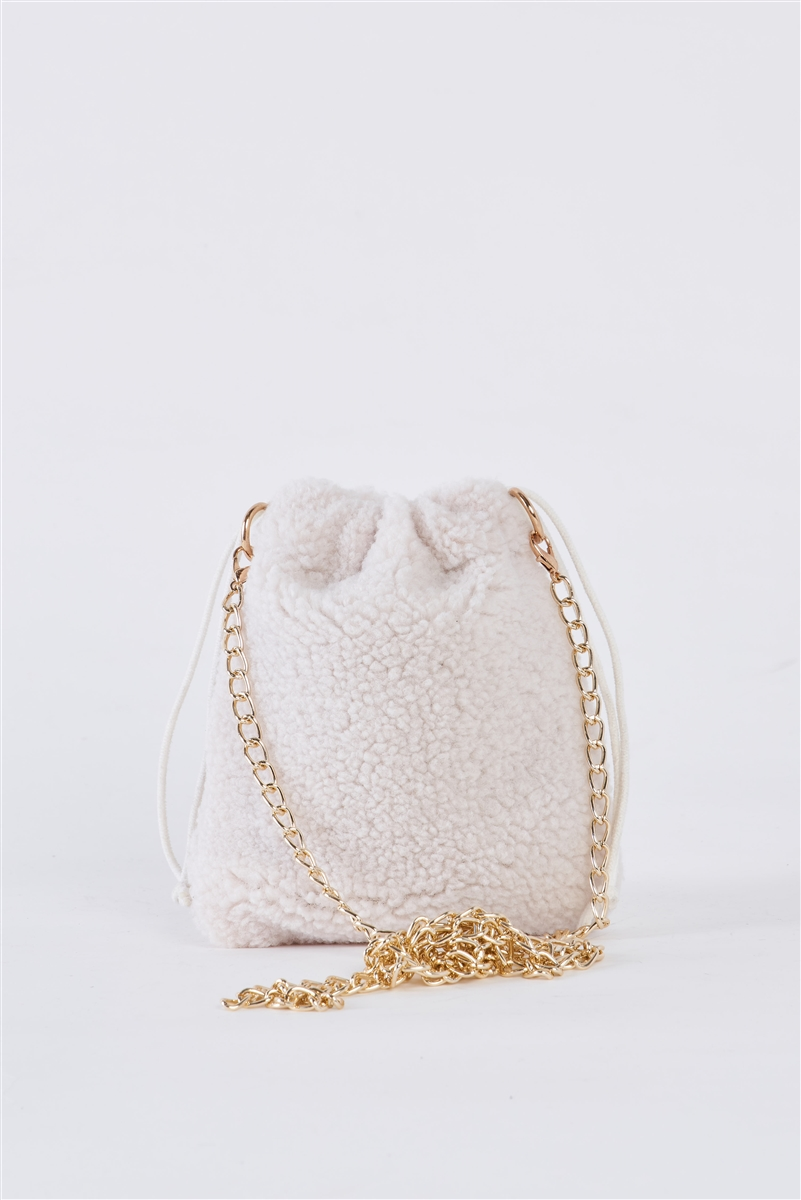 Ivory Faux Fur Plush Crossbody Pouch Bag /1 Bag