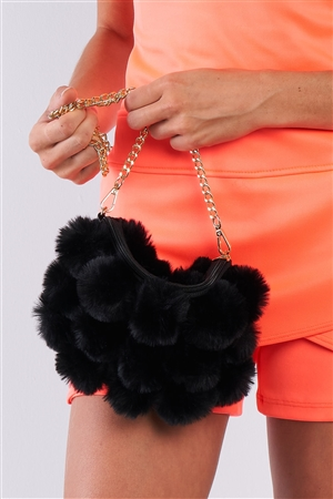 Super Soft  Black Faux Fur Cushion Crossbody Bag