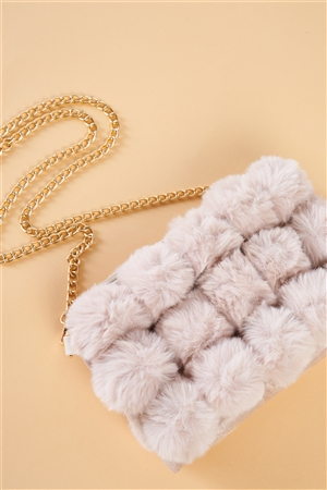 Super Soft Ivory Faux Fur Cushion Crossbody Bag