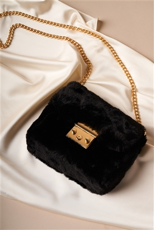 Black Faux Fur Clutch Crossbody Bag
