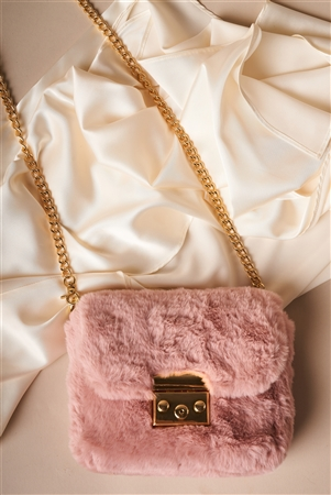 Dusty Pink Faux Fur Clutch Crossbody Bag