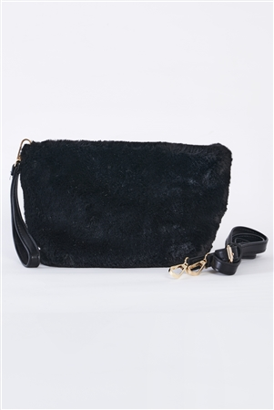 Black Faux Fur Hidden Magnetic Snap Button Closure Crossbody Bag / Clutch With Hidden Hand Strap Loop