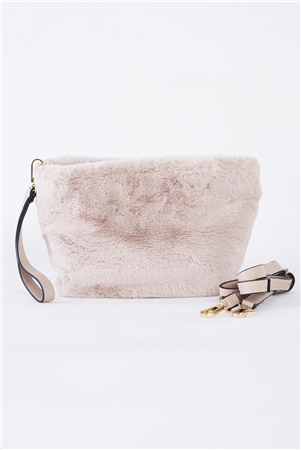Ivory Faux Fur Hidden Magnetic Snap Button Closure Crossbody Bag / Clutch With Hidden Hand Strap Loop