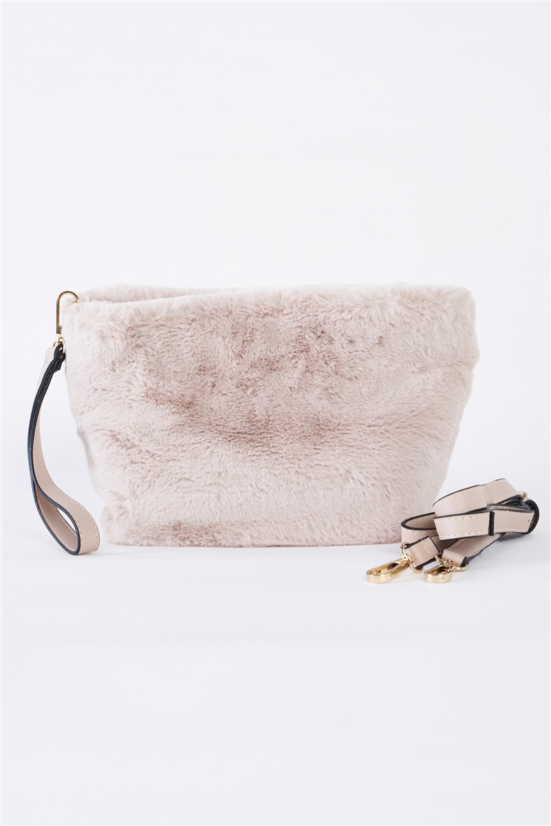 Ivory Faux Fur Hidden Magnetic Snap Button Closure Crossbody Bag / Clutch With Hidden Hand Strap Loop / 1 Bag