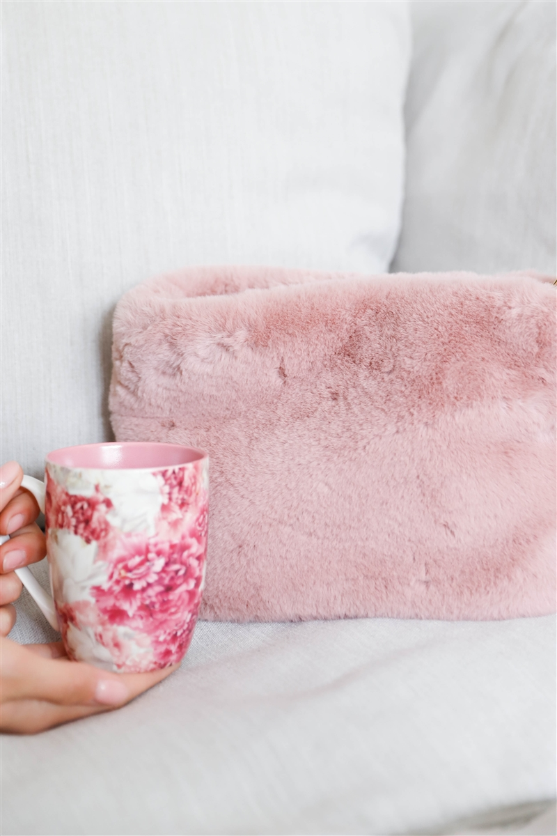 Pink Faux Fur Hidden Magnetic Snap Button Closure Crossbody Bag / Clutch With Hidden Hand Strap Loop