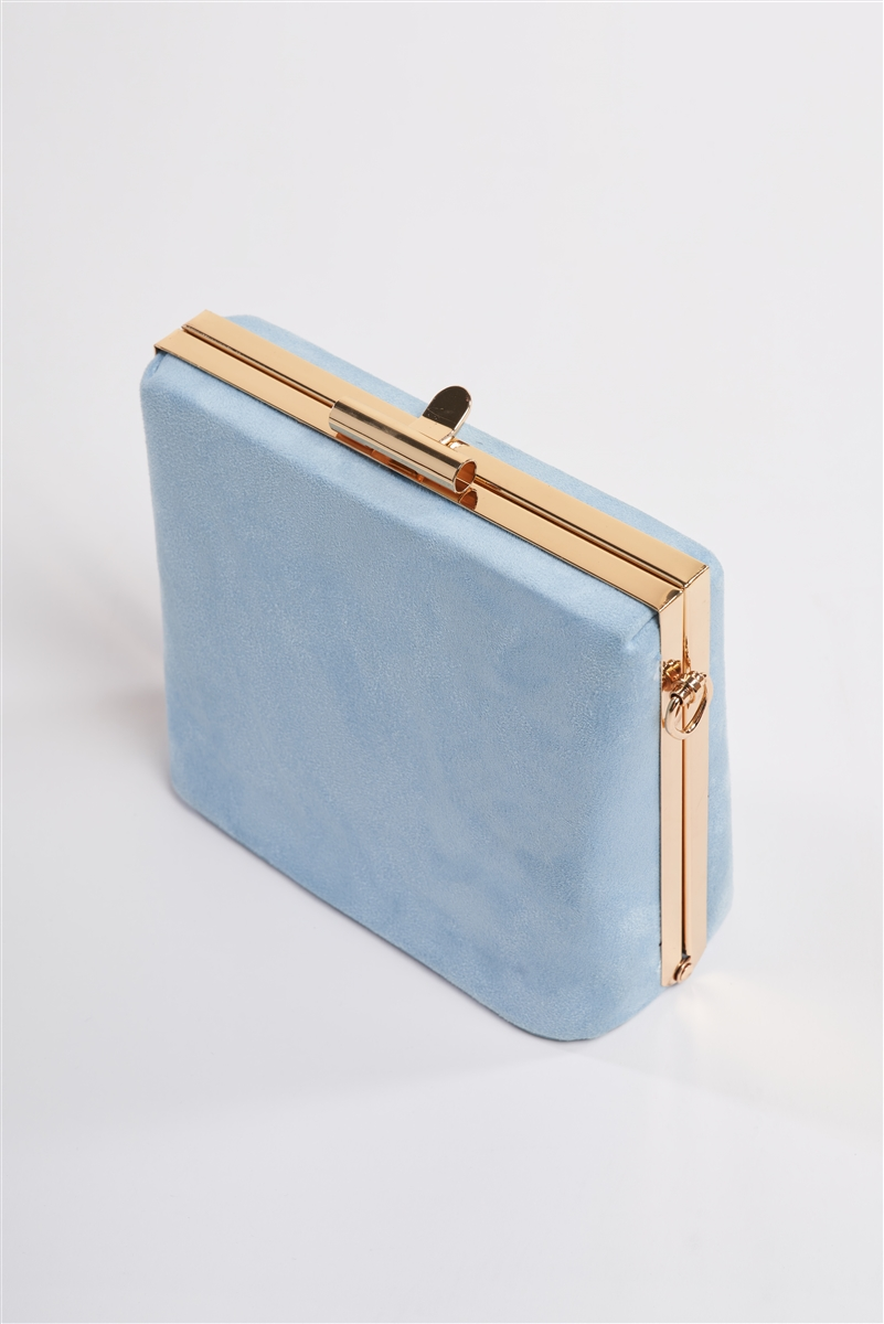 Baby Blue Chic Suede Clutch Bag /3 Bags