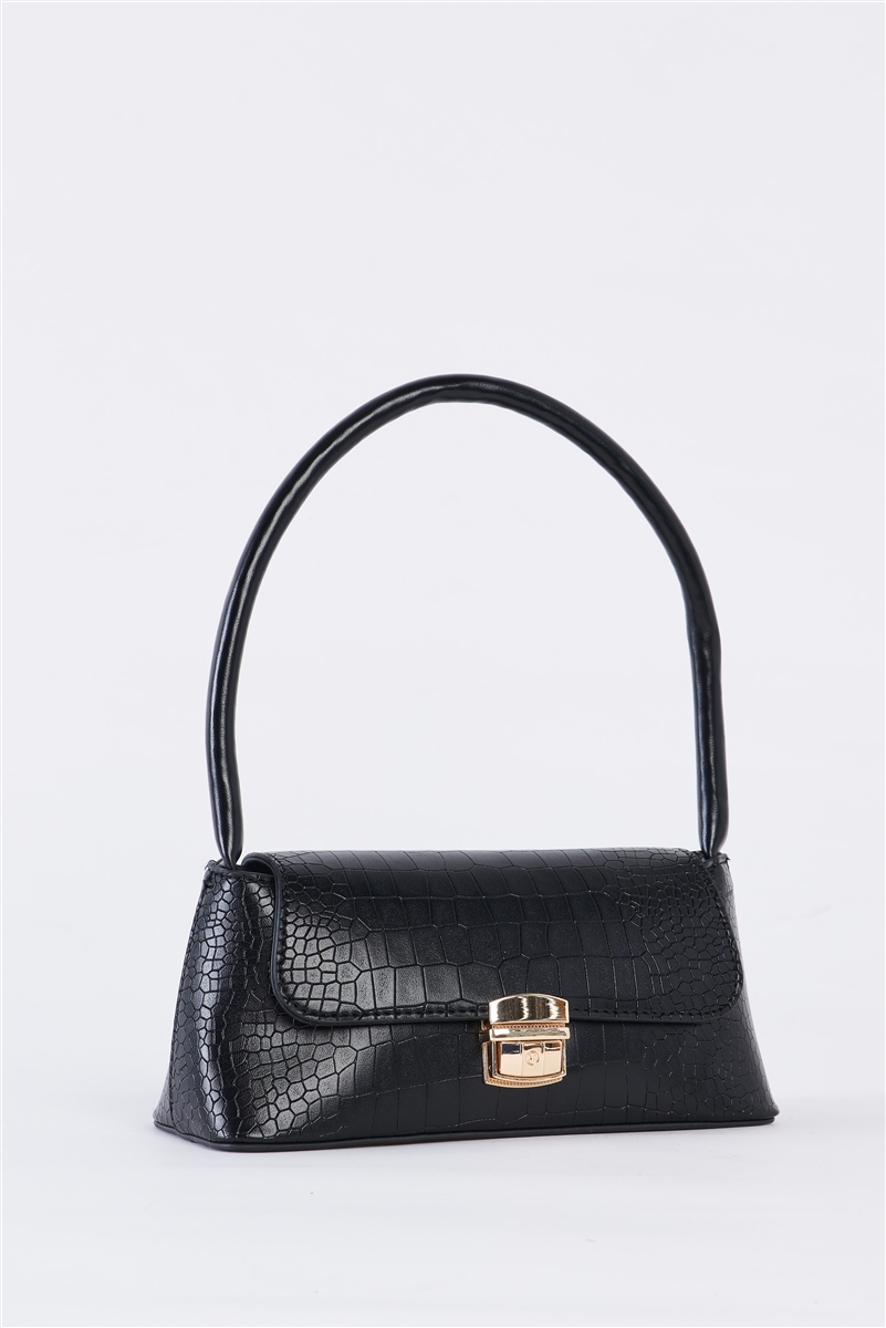 Black Vintage Vegan Croc Skin Shoulder Bag /3 Bags