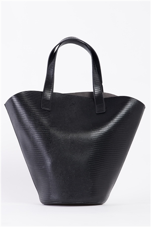 Black Trapezoid Snake Vegan Leather Bag /3 Bags