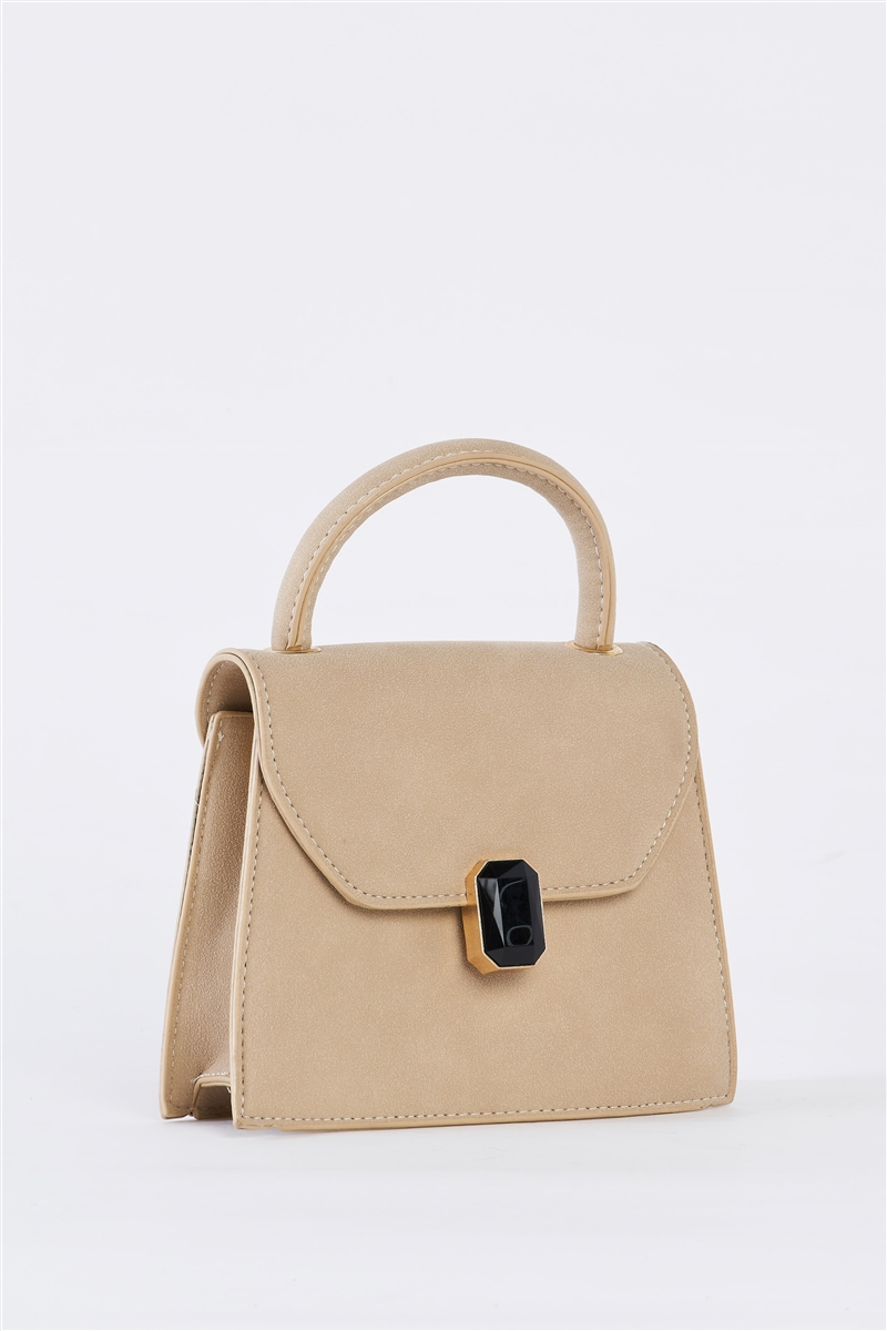 Beige Vintage Inspired Purse With Gem Closure Detail /3 Bags