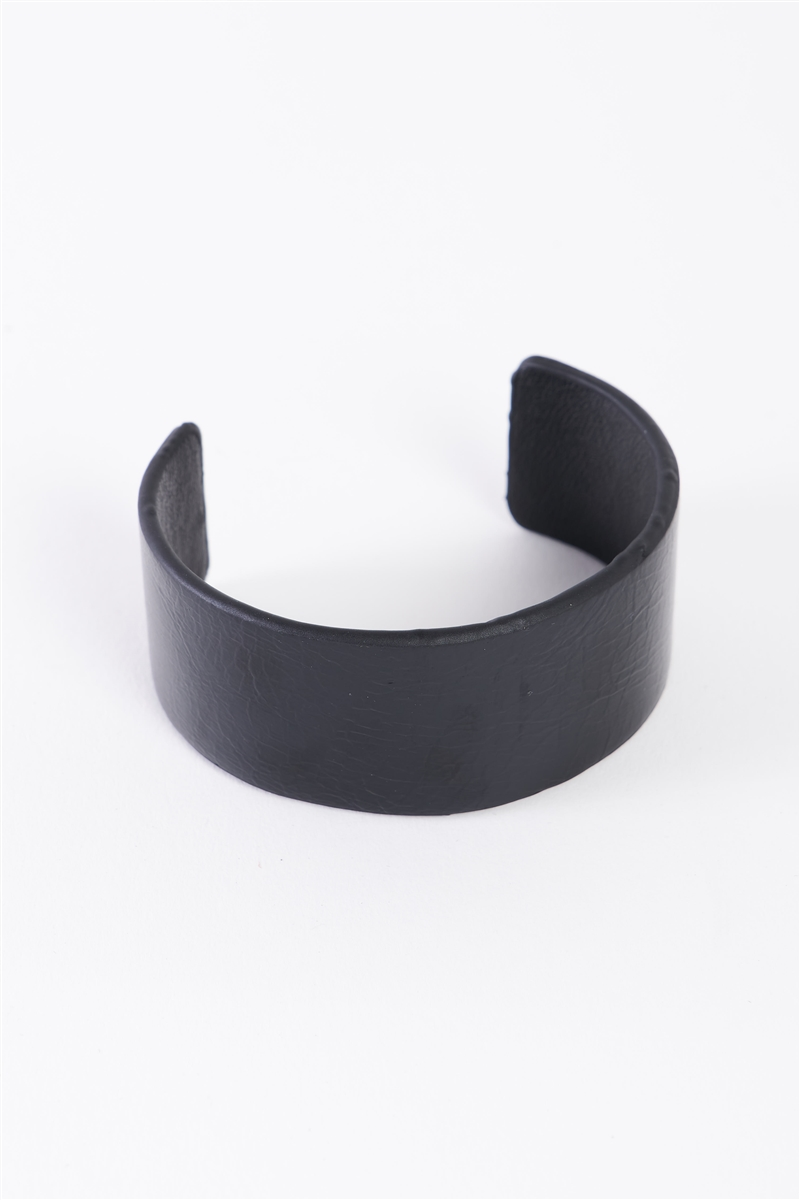 Black Faux Leather Wide Cuff Bracelet /6 Pieces