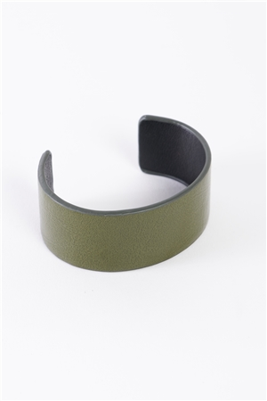 Olive Faux Leather Wide Cuff Bracelet /6 Pieces