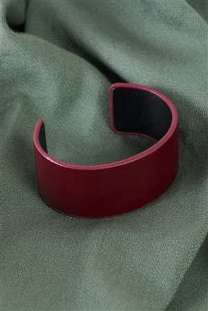 Red Faux Leather Wide Cuff Bracelet /6 Pieces