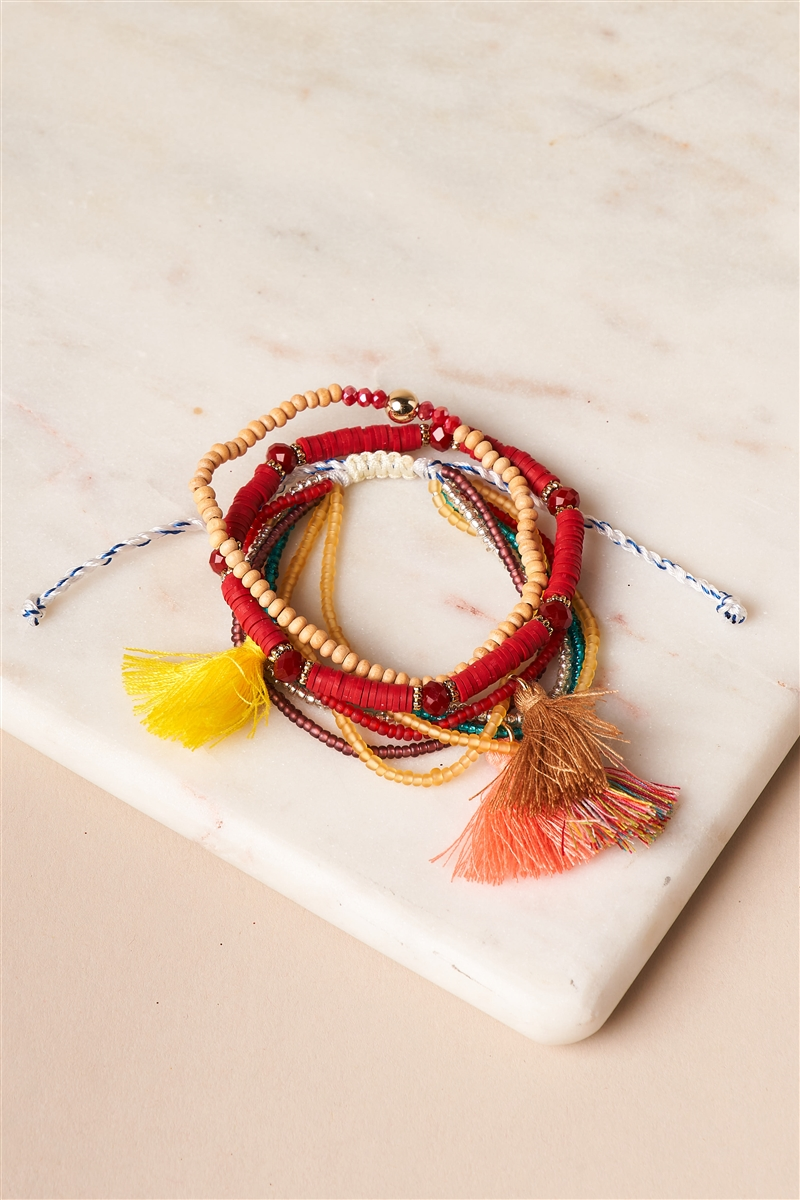 Burgundy And Multi Colored Beaded Braceletes
