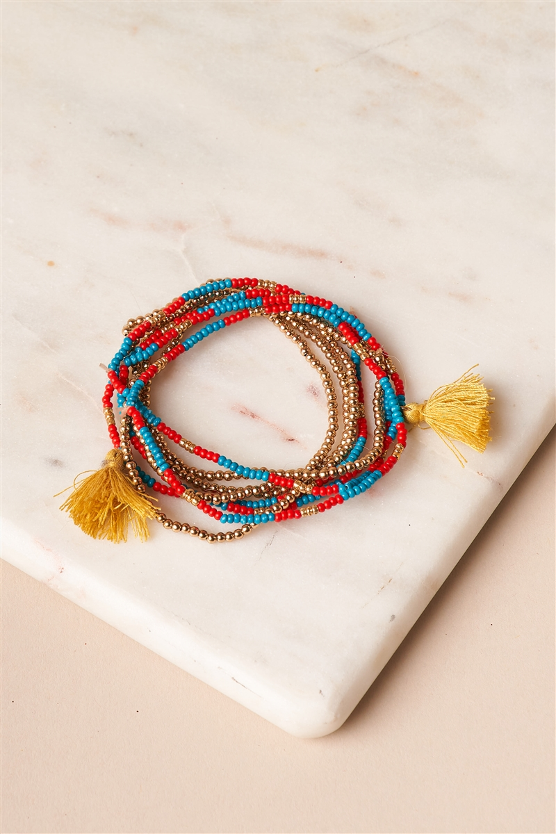 Turquoise Red Gold Beaded Bracelets