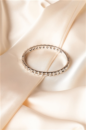 Silver Solid Chain Link Bangle Bracelet