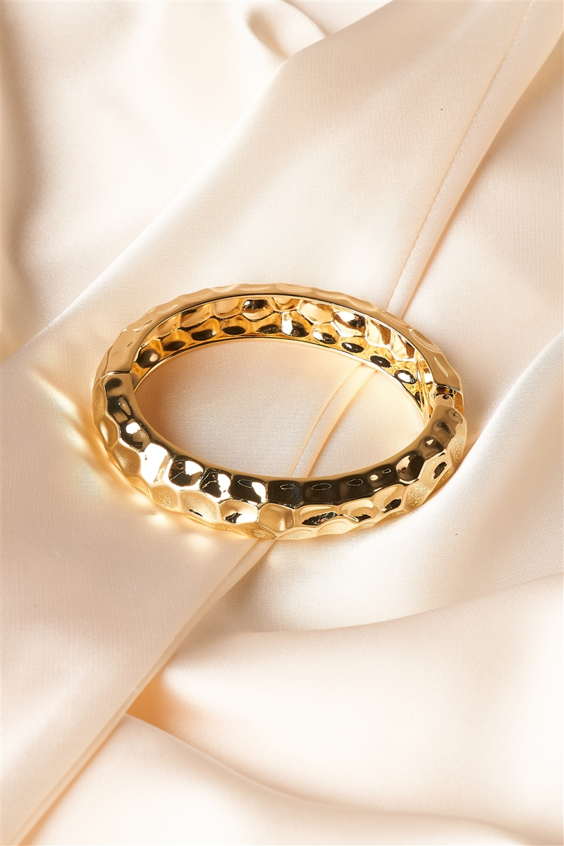 Gold Warped Metallic Bangle Bracelet