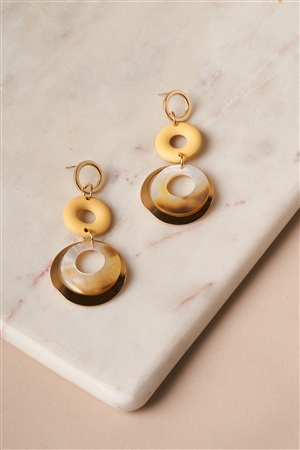Yellow Ivory Circle Disc Tier Earrings
