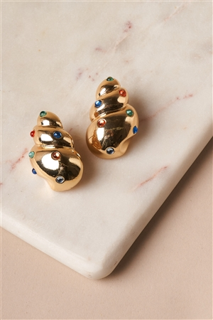 Gold Multi Colored Gem Sea Shell Earrings