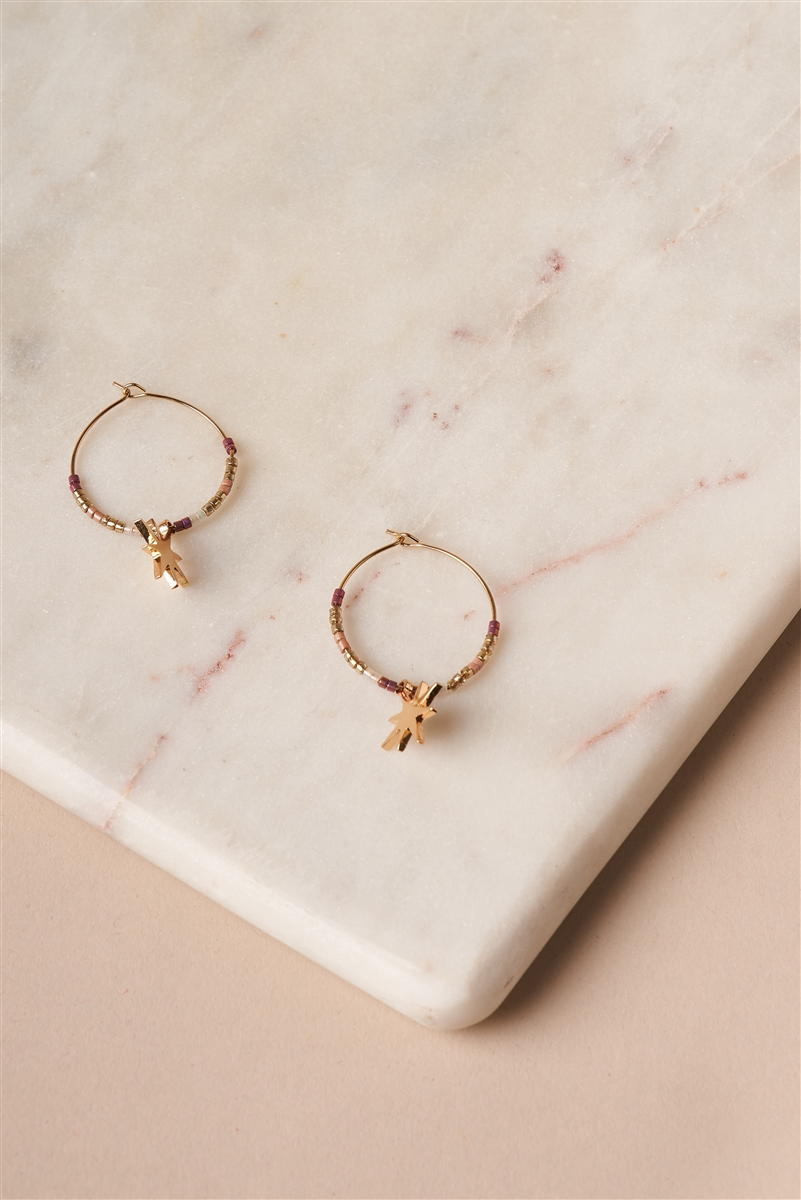 Pink Gold North Star Hoop Drop Earrings
