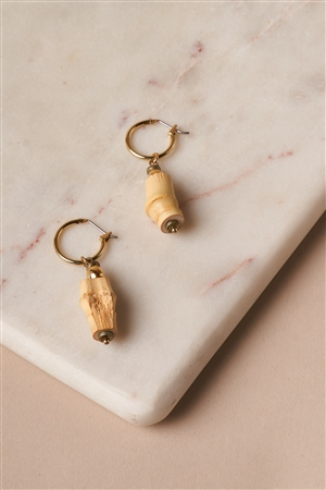 Bamboo Hoop Cylinder Drop Earrings