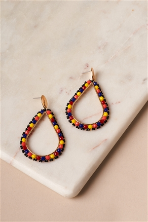 Multi Beaded Hoop Teardrop Earrings