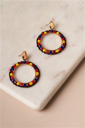 Multicolored Gold Circular Beaded Hoop Stud Earrings