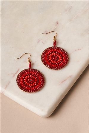 Red Beaded Disc Drop Earrings