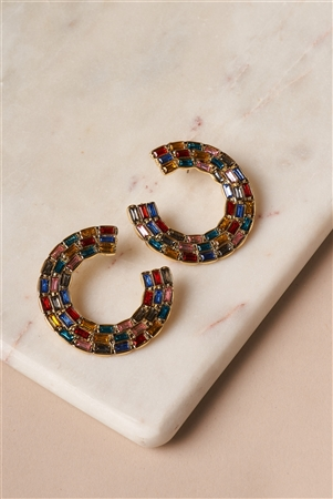 Multi Colored Bold C-Shaped Stud Hoop Statement Earrings