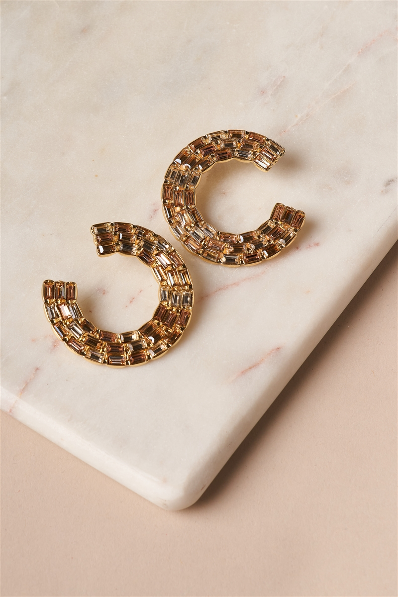 Nude Bold C-Shaped Stud Statement Earrings
