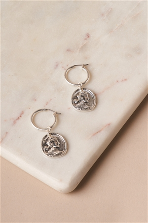 Silver Mini Ancient Coin Drop Earrings