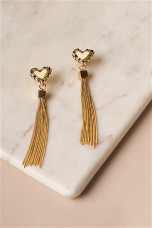 Ivory Gold Heart Chain Fringe Drop Earrings