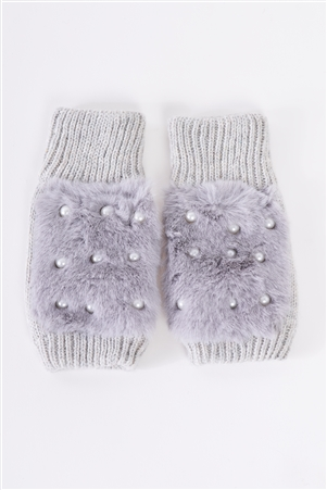 Grey Knit Furry Fingerless Pearl Detail Winter Gloves /3 Pieces