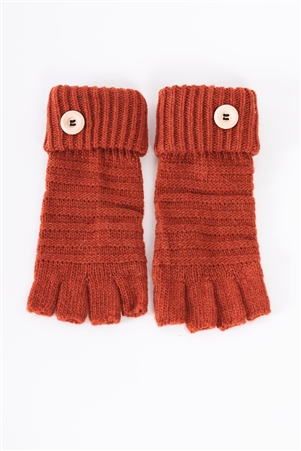 Rust Fingerless Button Detail Knit Winter Gloves /3 Pieces